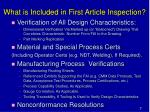 what is included in first article inspection