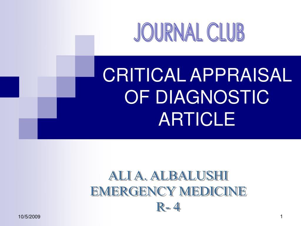 critical appraisal of diagnostic article l.