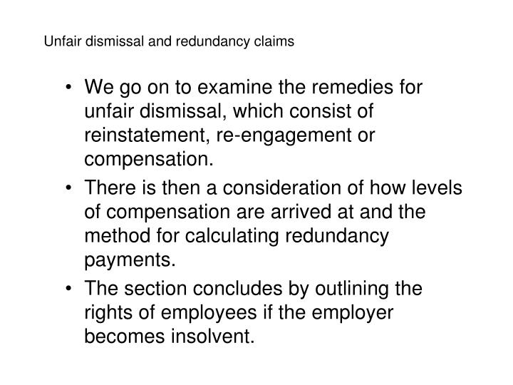 Unfair dismissal and redundancy claims