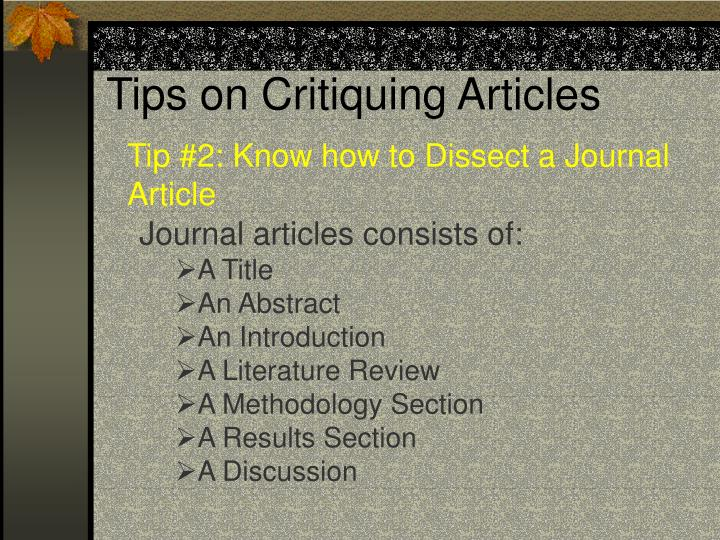 Tips on critiquing articles2
