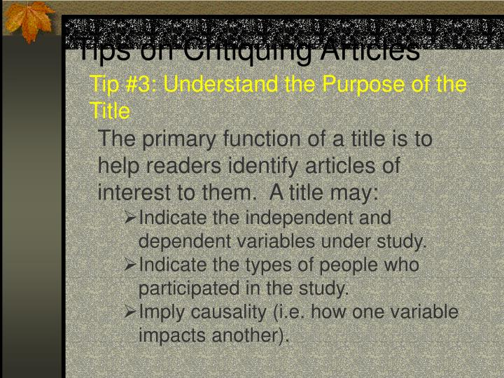 Tips on critiquing articles3