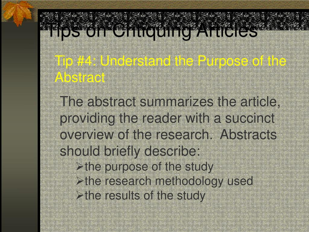 Tips on Critiquing Articles