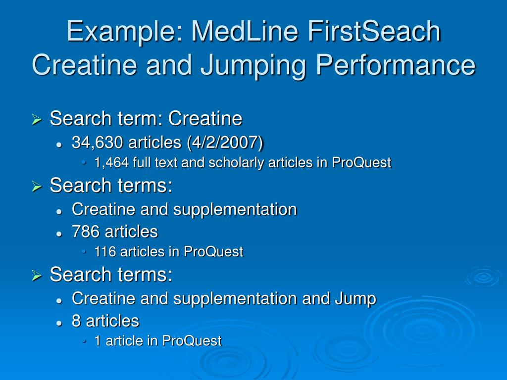 Example: MedLine FirstSeach