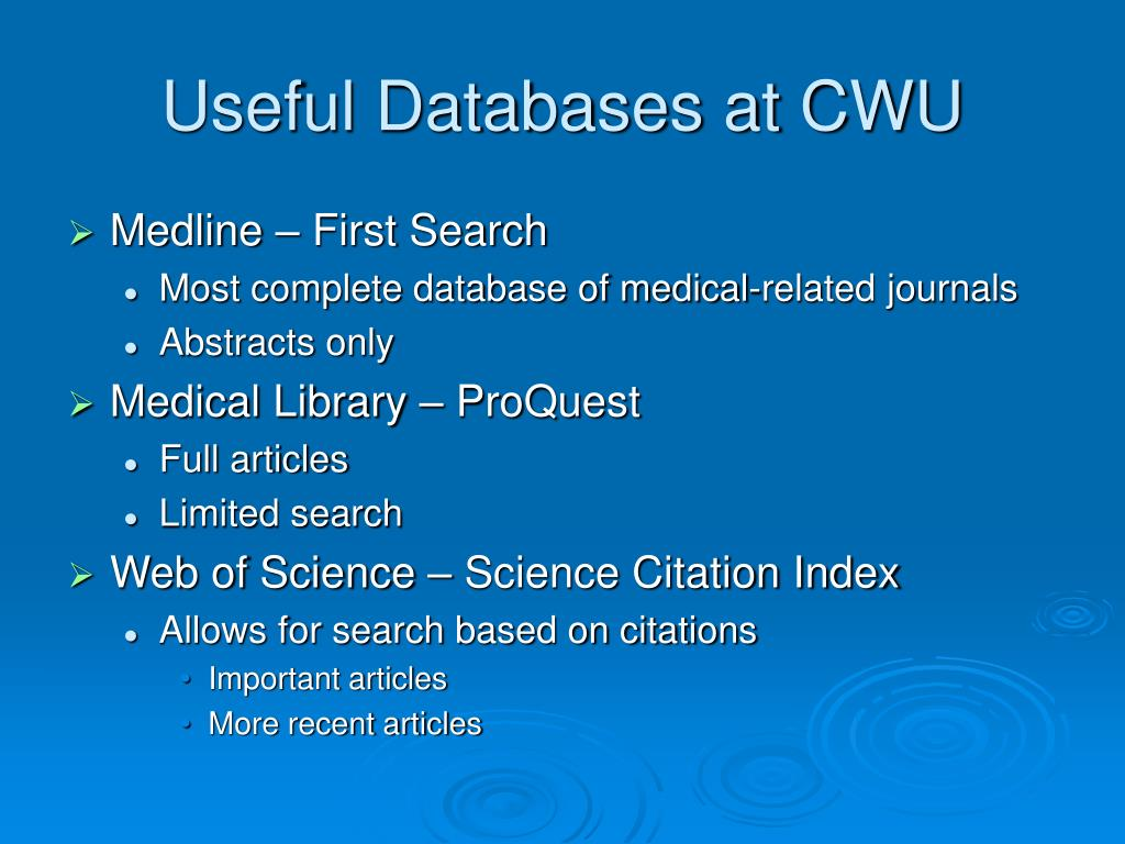 Useful Databases at CWU