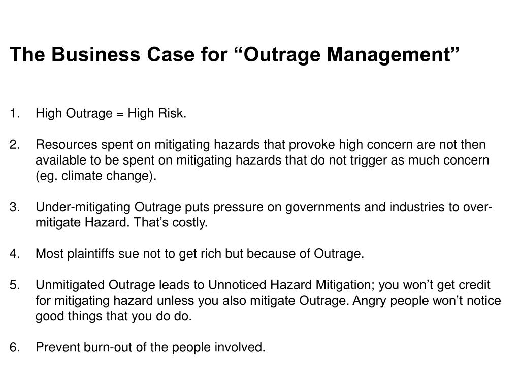 "The Business Case for ""Outrage Management"""