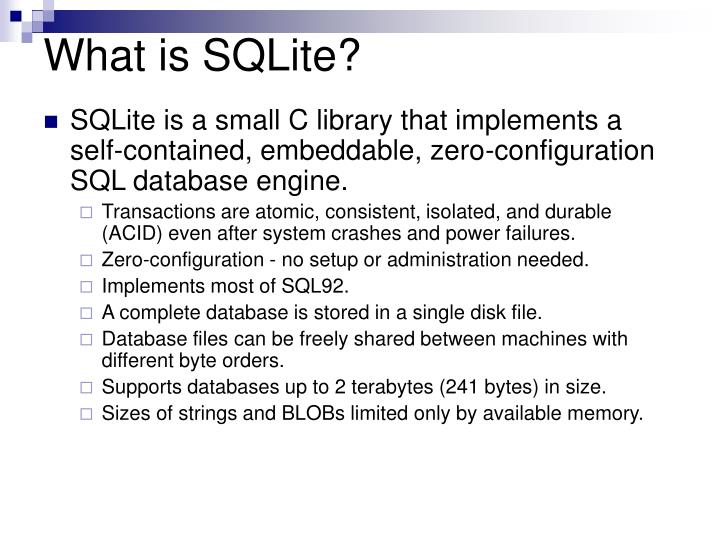 What is sqlite