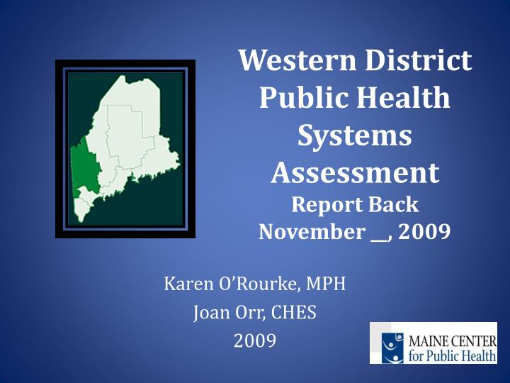 western district public health systems assessment report back november 2009 n.