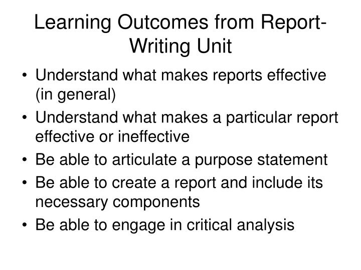 Learning outcomes from report writing unit