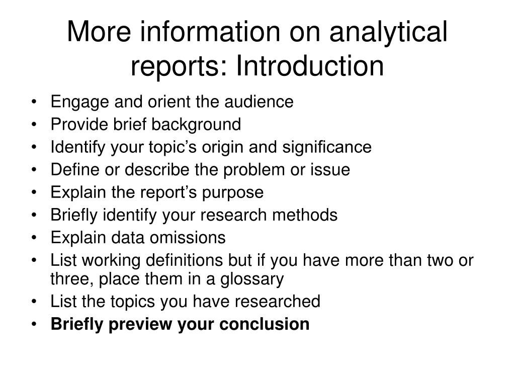More information on analytical reports: Introduction