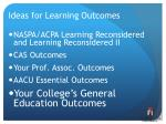 ideas for learning outcomes