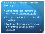 importance of assessing student learning