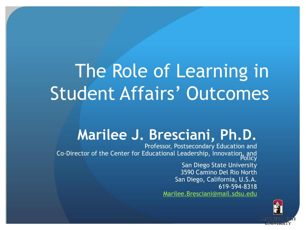 the role of learning in student affairs outcomes l.