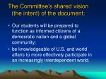 the committee s shared vision the intent of the document