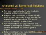 analytical vs numerical solutions
