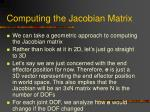 computing the jacobian matrix