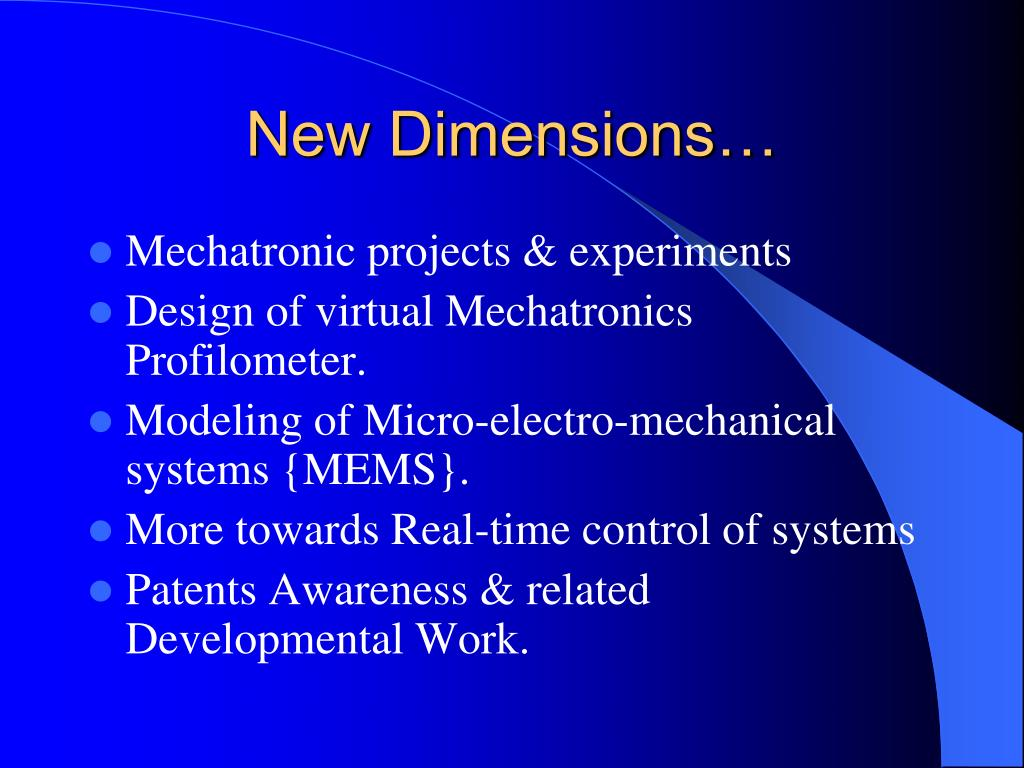 New Dimensions…