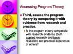 assessing program theory18