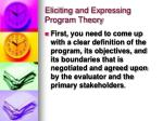 eliciting and expressing program theory13