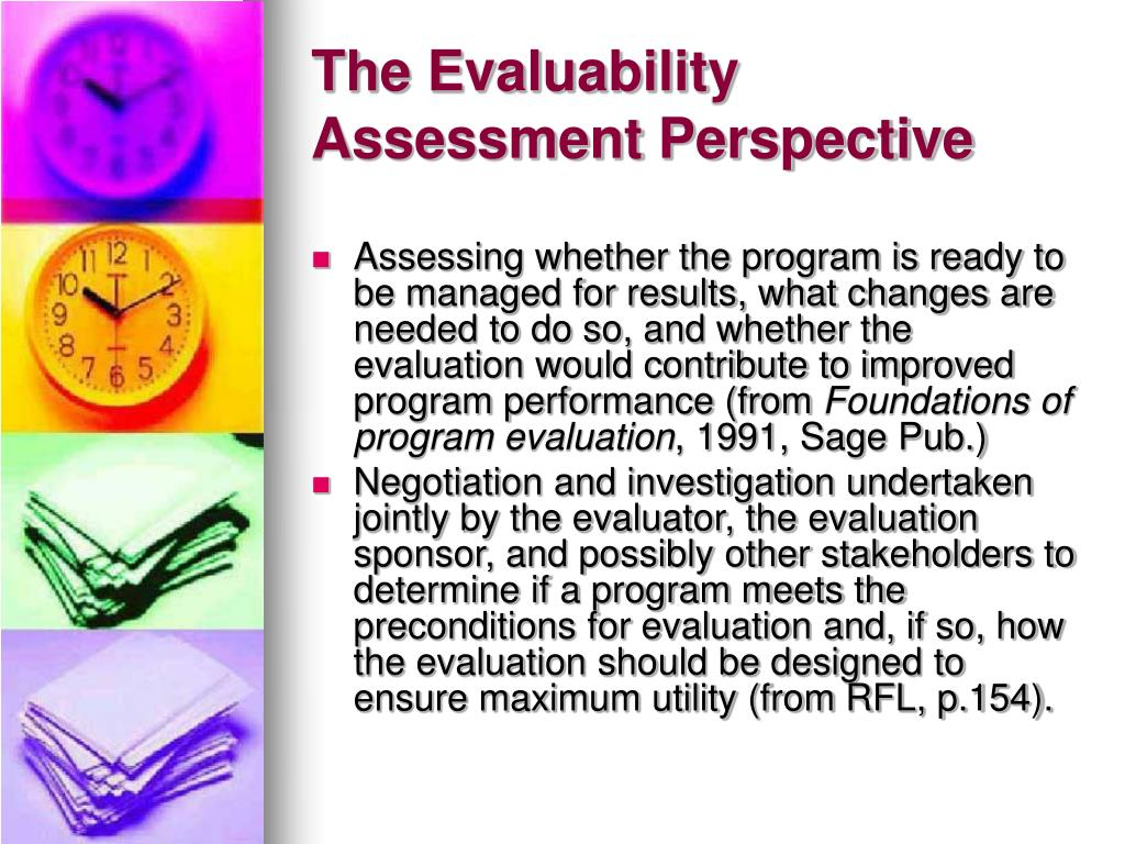The Evaluability Assessment Perspective