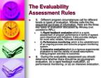 the evaluability assessment rules10