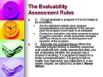 the evaluability assessment rules8