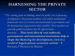 harnessing the private sector