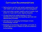 curriculum recommendations