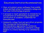educational institution recommendations