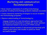 marketing and communication recommendations