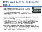 rated work load or load capacity rating