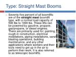 type straight mast booms