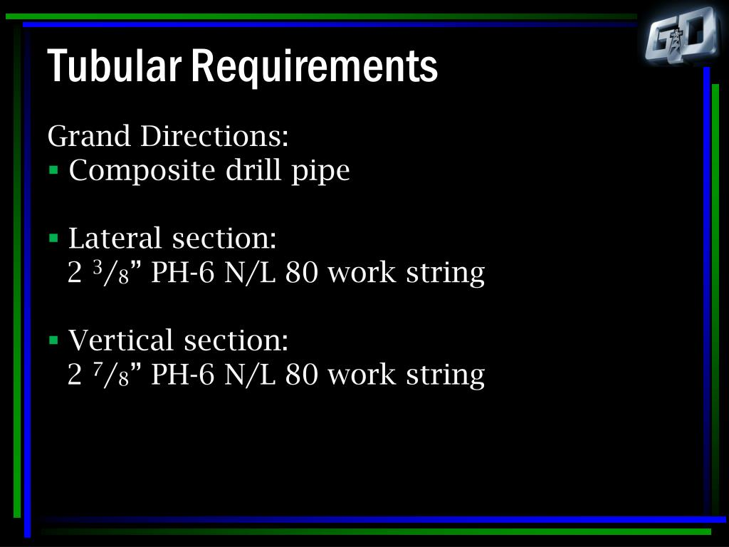 Tubular Requirements