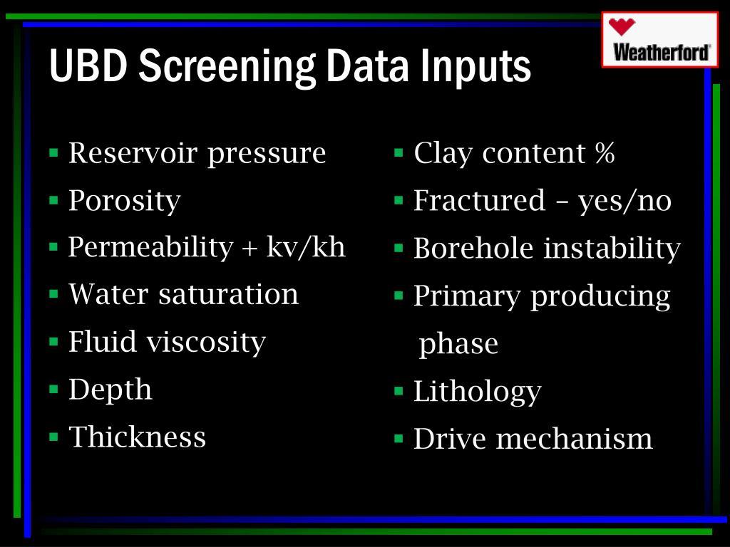 UBD Screening Data Inputs