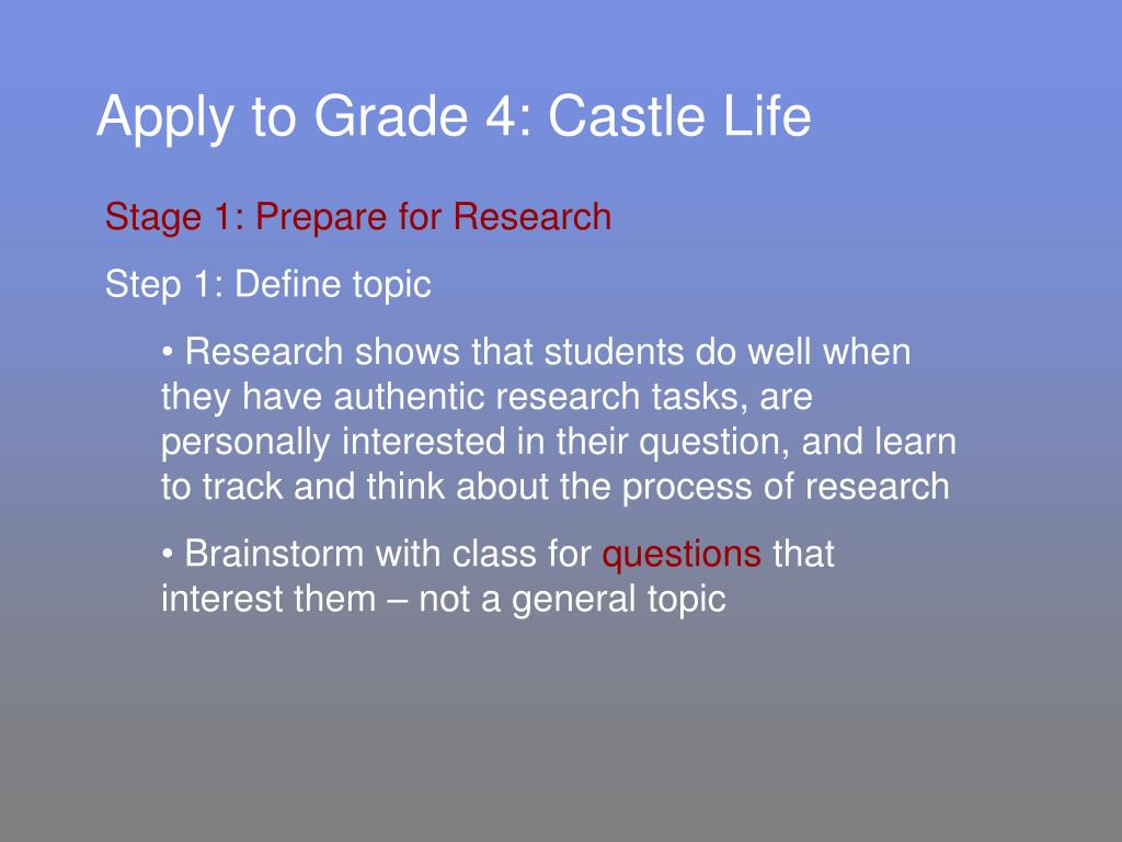 Apply to Grade 4: Castle Life