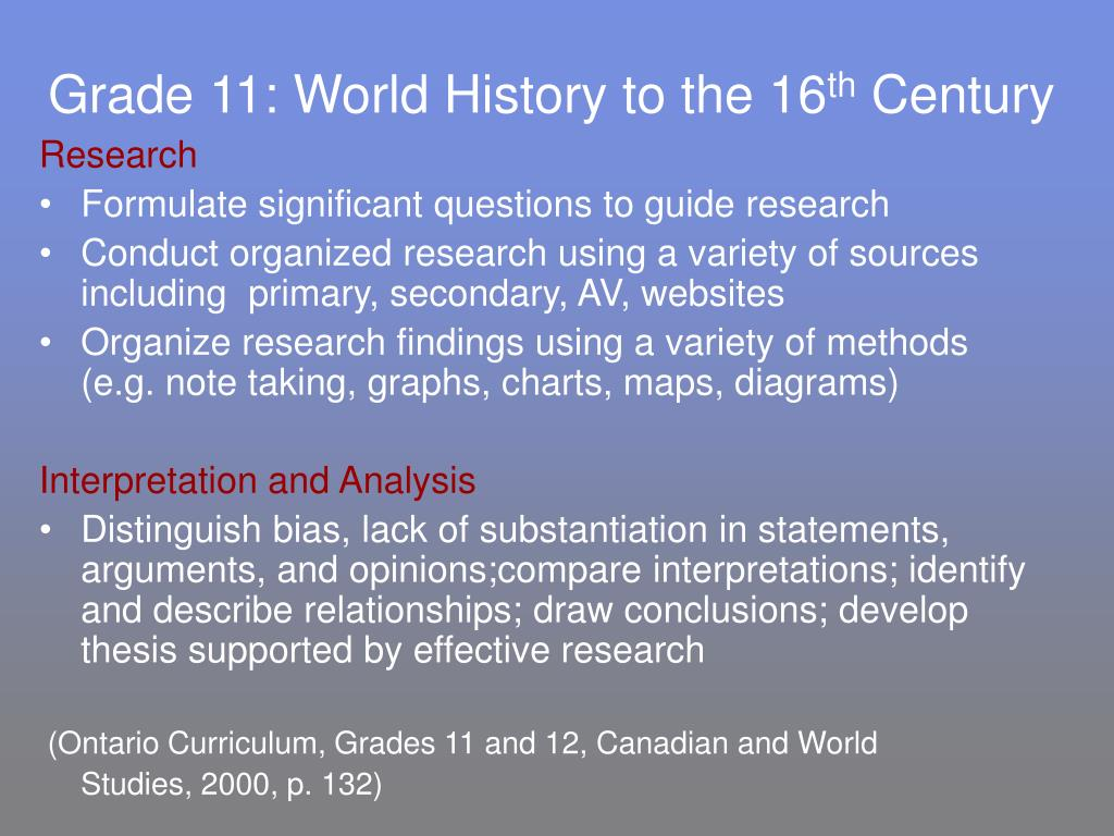 Grade 11: World History to the 16