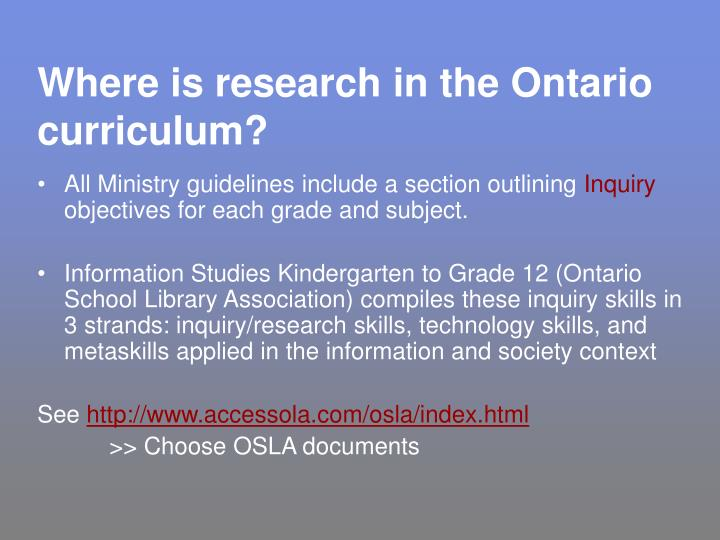 Where is research in the ontario curriculum