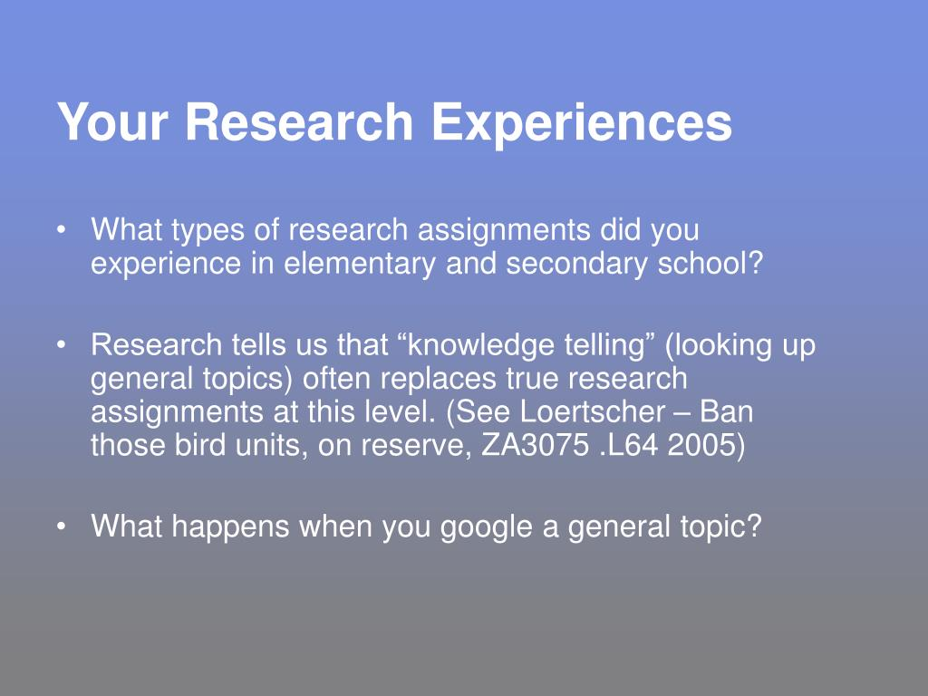 Your Research Experiences