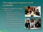 the suggestions teachers found acceptable