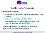 quote from prospects