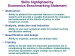 skills highlighted by economics benchmarking statement
