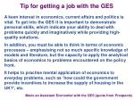 tip for getting a job with the ges