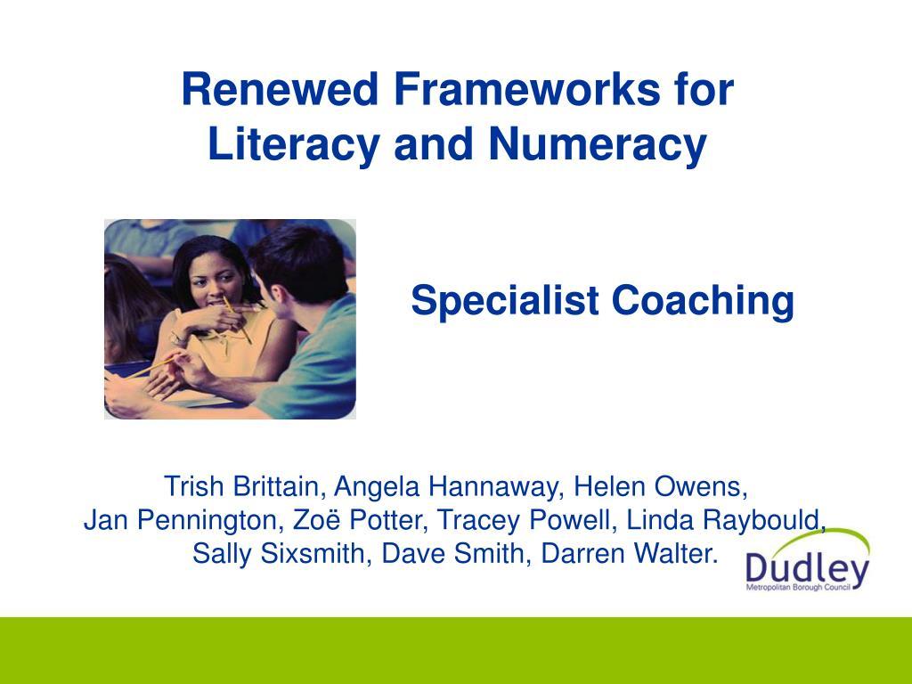 Renewed Frameworks for