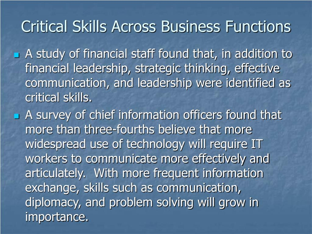 Critical Skills Across Business Functions