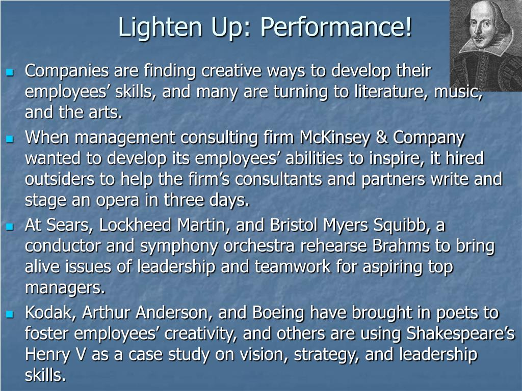 Lighten Up: Performance!