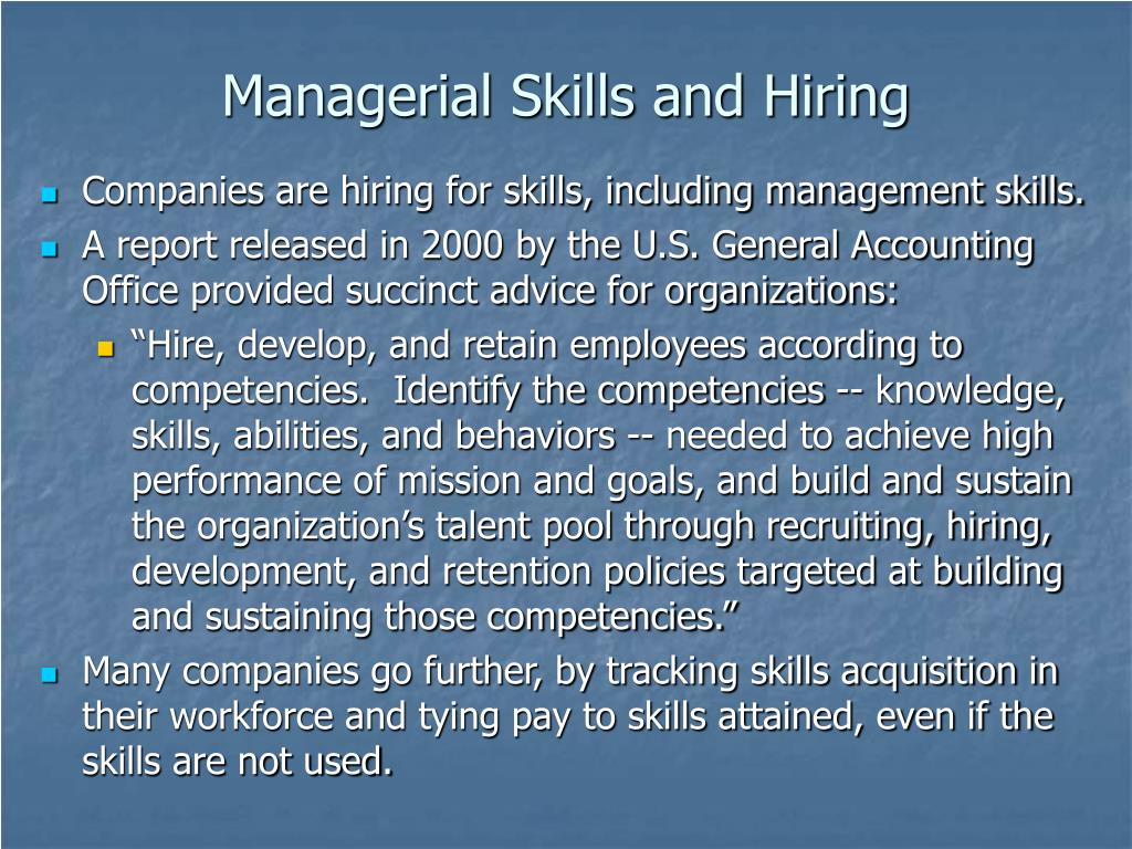 Managerial Skills and Hiring