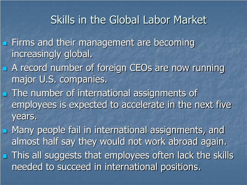 Skills in the Global Labor Market