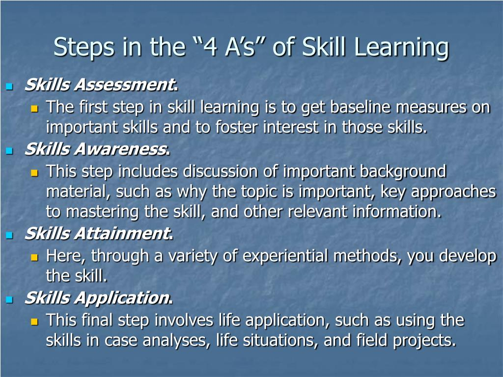 "Steps in the ""4 A's"" of Skill Learning"