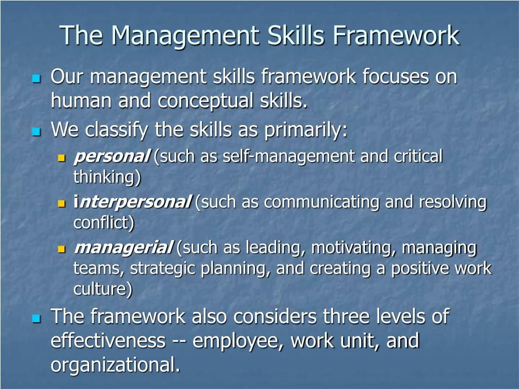 The Management Skills Framework