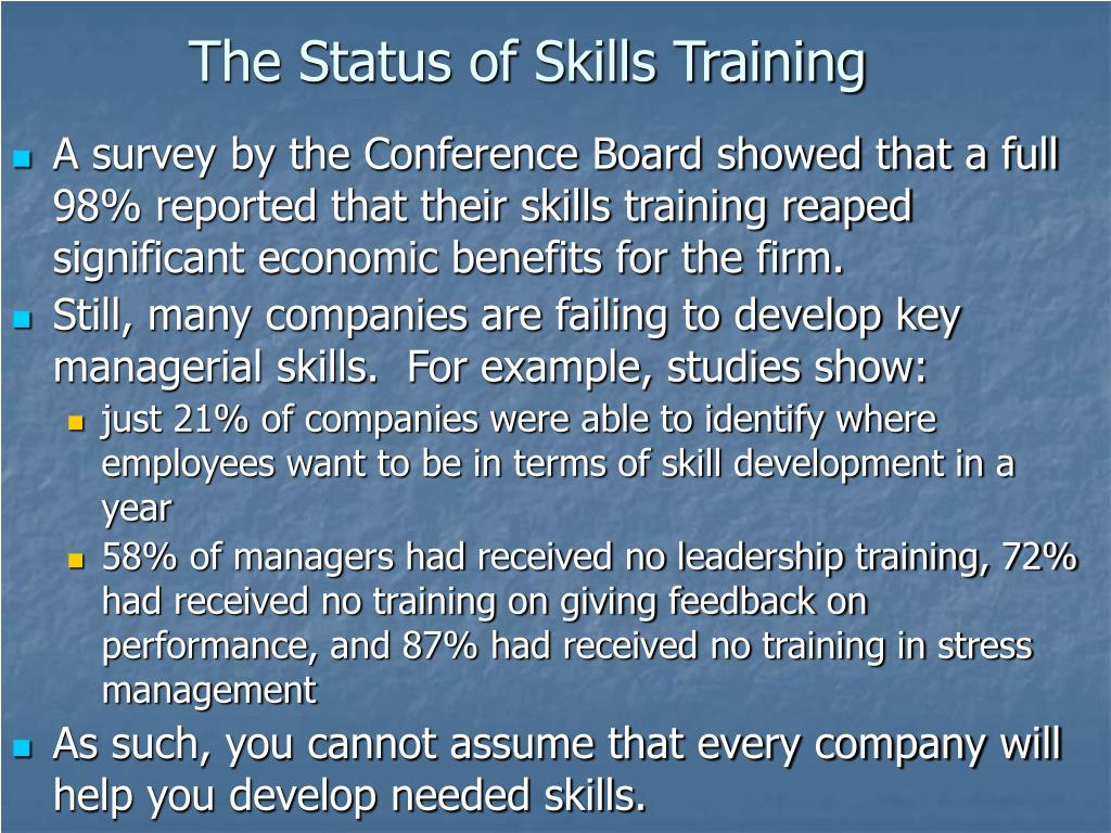 The Status of Skills Training