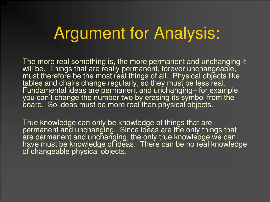Argument for Analysis: